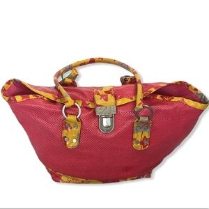 Nannini Pink Yellow Beach Tote Bag